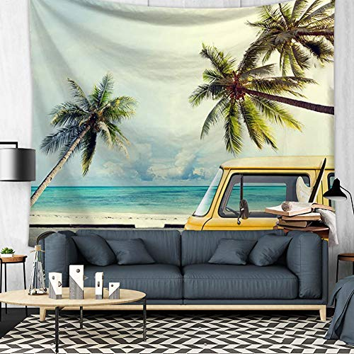 Beach Tapestry Retro Summer Vacation Surf Theme Wall Hanging Ocean Beach Palm Tree Coconut tree Bus Minivan Tapestry Home Decor Art Sets (1, 78Wx59L)