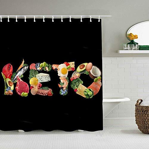 N\A Duschvorhang Essen Lebensstil als Nüsse Fleisch Avocados als therapeutische Mahlzeit auf schwarzem Hintergr& wasserdichte Badeinlagen Haken enthalten - Badezimmer dekorative Ideen