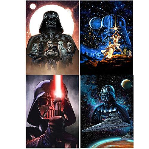 """4 Packungen mit 5D-Diamant-Gemälde-Sets, """"Star Wars"""", DIY-Diamant-Strasssteine, Kreuzstich-Stickerei, Kunsthandwerk, Wanddekoration, \""""Star Wars\"""", 30,5 x 40,6 cm"""