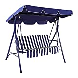 Garden Swing Chair 3 Seater Outdoor Patio Swing Chair w/Removable Cushion and Top Roof Garden Canopy Rocking Bench,Suitable for Backyard, Garden, Poolside, Balcony (Blue)