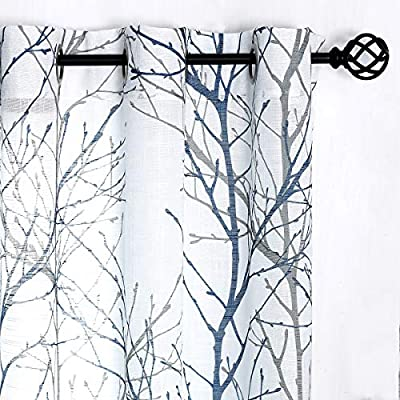 """Fmfunctex Print Blue White Semi-Sheer Curtain Panels for Bedroom 63"""" Grey Tree Branch Printing on Linen Textured Window Treatment Set for Living Room Draperies 50""""w 2-Pack"""