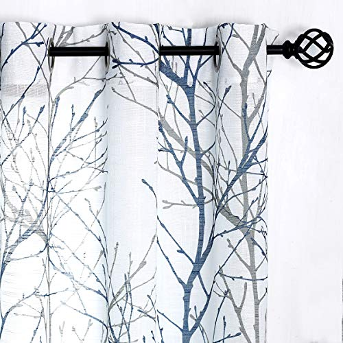 "Fmfunctex Blue White Curtains 84"" for Living Room Grey Tree Branches Print Curtain Set Linen Textured Semi-Sheer Window Drapes for Bedroom Grommet Top, 2 Panels"