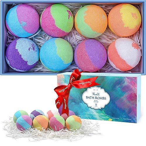 Bath Bombs Gift Set, 8 Multi-Colored Vegan Bath Bomb Kit in Luxurious Gift Box with Organic...