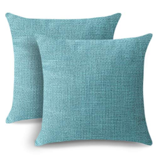 Artscope Cushion Covers Set of 2 Linen Decorative Square Pillowcases Pillow Covers 45x45cm for Home Decor Sofa Bedroom Car (Turquoise, 18x18)