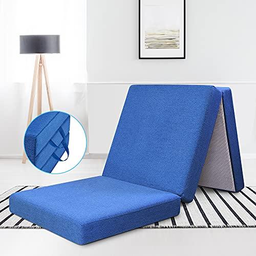 RECCI Premium - Colchón plegable para invitados (195 x 70 x 10 cm, para colchones de invitados, en forma de cubo, para dormir y para uso versátil)