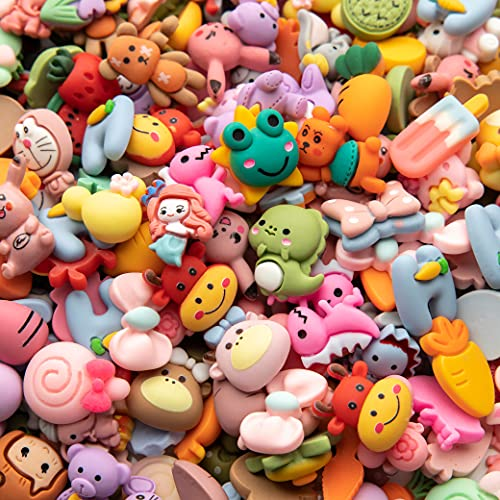 Slime Charms Cartoon Animal and Fruit Cute Set - Mixed Lot Assorted Fruit Resin Flatback Cute Sets for DIY Crafts Making,Decorations,Scrapbooking,Embellishments,Hair Clip 25pcs