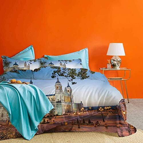 European 3-Piece Duvet Cover Set Old Cathedral and Royal Palace in Madrid Mediterrenean City Europe Urban Print Best Hotel Luxury Bedding Multicolor | 1 Duvet Cover + 2 Pillow Shams King Size