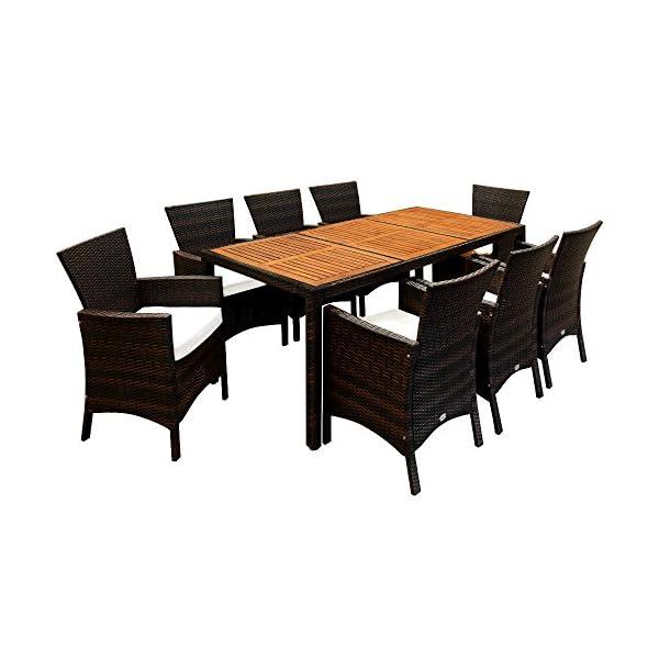 Deuba Poly Rattan Sitzgruppe Garten 8 Breite Stühle 7cm Auflagen Gartentisch Akazie Holz 8 Personen Gartenmöbel Set…