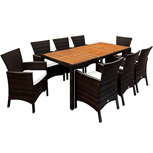 Casaria Poly Rattan Sitzgruppe Braun 7cm Dicke Auflagen 8 Breite Stühle & 1 Tisch Akazienholz Gartenmöbel Lounge Set