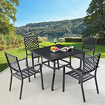 """AECOJOY 5 Pieces Outdoor Patio Dining Set, 37"""" Square Metal Table with Umbrella Hole and 4 Metal Chairs for Poolside, Backyard, Balcony, Garden, Deck, Black"""