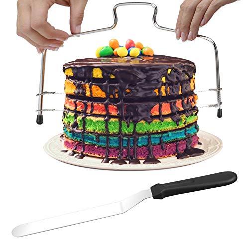 BIGKASI Coupe-gâteau à Trancher, Trancheuse à Gâteaux à Double Fil Coupe-Gâteau en acier inoxydable Réglable avec Spatule à Crème pour Lissoir DIY Patisserie Cuisson Dessert