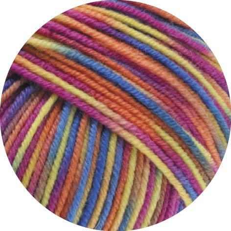 Lana Grossa Cool Wool Print 814 - Zyklam/Lachs/Blau/Gelb/Taupe/Graugrün