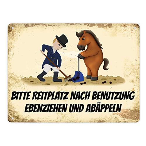 trendaffe - Metallschild XL mit Pferd und Reiter Motiv und Spruch: Bitte Reitplatz nach Benutzung ebenziehen und abäppeln