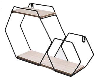 Dxbqm Étagère Murale pour Organisateur de Rangement, étagère hexagonale en Fer forgé, étagère Murale en Fer forgé, Combina...