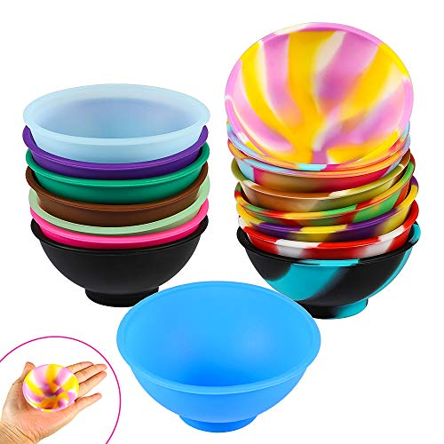 Picowe 16 Pack Mini Silicone Pinch Bowls, 2.8 x 1.3inch Prep and Serve Bowls, Snack Bowls Condiment Bowls for Sauce Seasoning Spices Nuts Candy, Mixed Colors