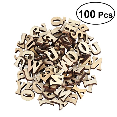 rosenice 100 STÜCKE Holzbuchstaben Alphabet ABC Holzscheiben zum Basteln