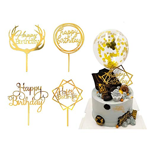 Coriver 10 Stück Happy Birthday Cake Topper, Acryl Glitter Cupcake Topper für Geburtstagstorte Dekorationen
