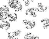 Beads Unlimited - Ciondolo in Metallo, a Forma di Ancora, Placcato Argento, 15 x 17 mm, Confezione da 50