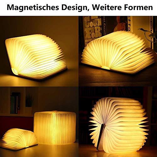 Hölzerne faltbare Buch-Lampe,LED-Licht mit Akku - 2