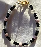 Black Clear Crackle and Purple Stone Catseye Bead 6 Inch Bracelet