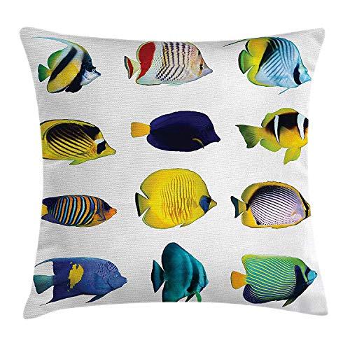 Butlerame Ocean Animal Decor Throw Pillow Cover, Figuras de Peces Tropicales con Zebrasoma Anemonefish Dive Nemo Aqua Home Decor, 18 x 18 Pulgadas, Multicolor