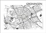 Poster 80 x 60 cm: Stadtplan von Groningen von 44spaces -