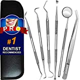 Dental Tools, 6 Pack Teeth Cleaning Tools Stainless Steel Dental Scraper Tooth Pick Hygiene Set with Mouth Mirror, Tweezer Kit for Dentist, Family Oral Care, Dogs - with Leather Case
