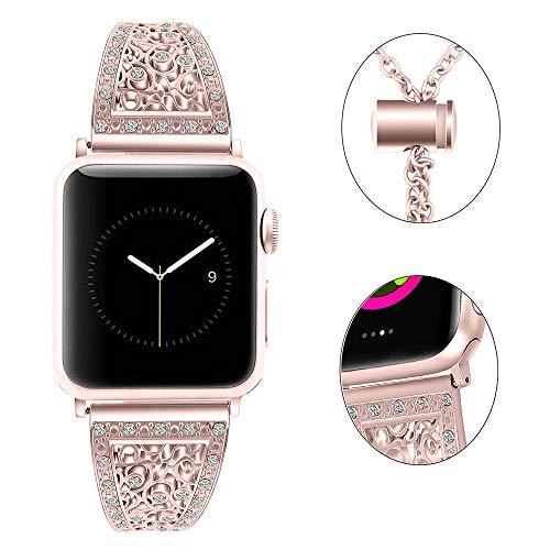 Myada Kompatibel für iWatch 38mm 40mm Armband Rose Gold,Armband Apple Watch 40mm Series 4 Frauen Armbänder Apple Watch 38mm Series 3 mit Glitzer Strass Ersatzband iWatch 2 Uhrenarmband für Apple Watch