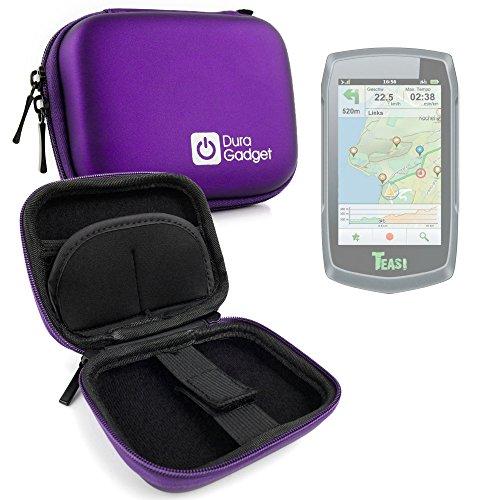 DURAGADGET Coque étui Rigide Violet pour Teasi One | One2 | One3 | Pro | Pro Pulse | Volt GPS de randonnée pédestre ou Cycliste + Clip d'attache détachable