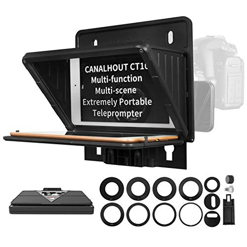 CANALHOUT CT10 Teleprompter for Smartphone and Mini Tablet Prompting,Smartphone and DSLR Shooting, DSLR/Phone Camera Lens Adapter Rings,Phone Clamp, Prompt the Blogger's Lines