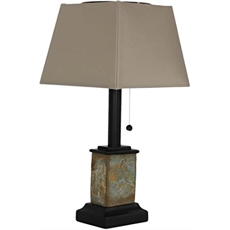 24-Inch Interior and Exterior Lighting for Bedroom Sunnydaze Indoor//Outdoor Table Lamp Office and Porch Patio Weather Resistant Natural Slate Light