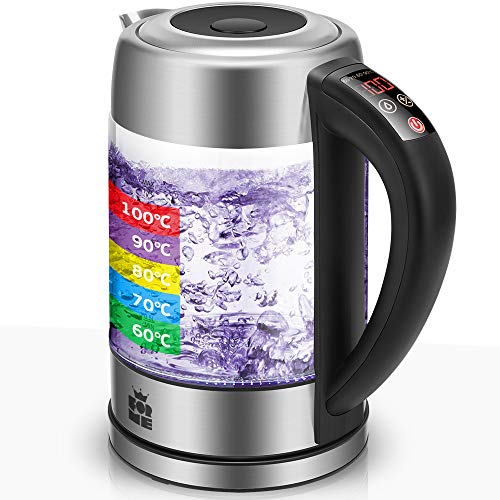 ForMe Glas Wasserkocher 1.7 mit Temperatureinstellung Temperaturwahl 60-100°C Farbwechsel LED Temperatur Einstellbar Glaskessel I Glaswasserkocher Edelstahl I Teekessel mit Warmhaltefunktion BPA Frei