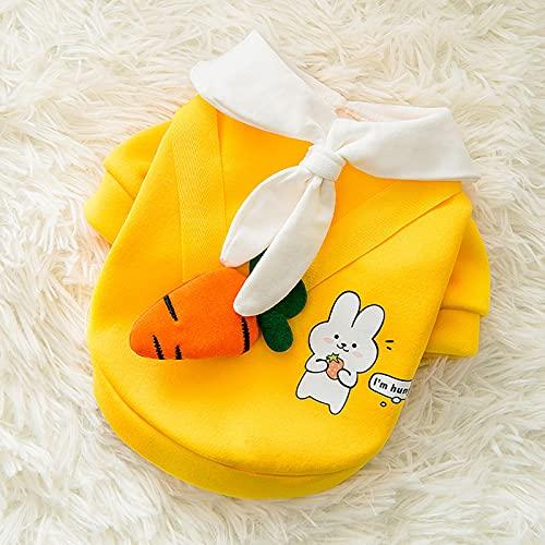 YNA Ropa para mascotas, suéter de zanahoria, moda primavera y verano, estilo fino, adecuado para gatos y perros, Teddy Bichon Pomeranian (tamaño: pequeño)
