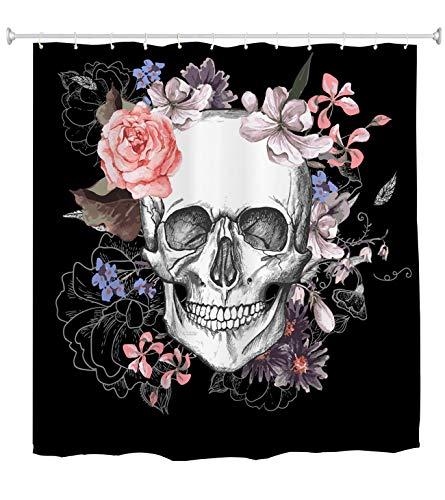 goodbath Surgar Schädel Badezimmer Duschvorhang Standardgröße Blumen Rose Duschvorhänge Set 12 Haken Wasserdicht Badvorhang Badezimmer Zubehör 182 x 183 cm