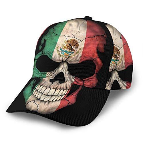 DOWNN Gorra de béisbol ajustable curvada unisex con diseño de calavera de México en la forma de ala curvada, sombrero de camionero 3D para deportes al aire libre, color negro