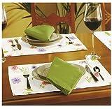 Tischset 4-teilig mit Blumen in gelb grün 32x45 cm - Gartengarnitur Tischwäsche individuell kombinierbar aus Stuhlkissen Tischdecke Tischläufer Platzset mit Blumen oder Vichy Karo - Landhaus Serie Garten Tischwäsche & Kissen Typ330