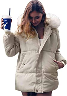 Puedo Women's Winter Down Jackets Warm Puffer Coats Thickened Parkas with Removable Fur Hood Large Pockets