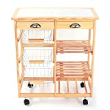 Cimiva Rolling Kitchen Island Cart, Microwave Stand Trolley, Utility Cart Rack w/3-Basket and Storage Drawers for Home Multi-Function (Wood)