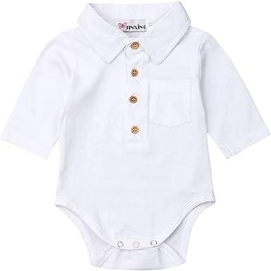 Mameluco Body de Bebé Recién Nacido Caballero Bodysuit Polo para Niños Camiseta de Mono de Manga Larga Una Pieza Traje Cuerpo Invierno de Hogar para ...