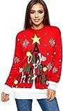 Avacoo Chaqueta de punto para mujer, larga, cárdigan, para otoño e invierno, estilo casual Z - Árbol de Navidad, color rojo XL