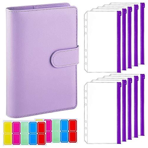 Sonline 12 Teilige A6 Binder Tasche mit Notebook HüLle, PU Leder Binder HüLle, Rechnungs Verwaltung, Karten Speicher Lila