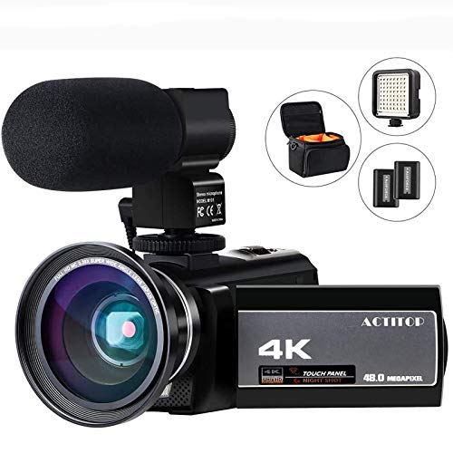 Video Camera 4K Camcorder Digital FHD WiFi Vlogging Cameras Recorder with Microphone for YouTube 48MP 16X Digital Zoom, 3.0 Inch Touch Screen, Wide Angle Lens, Night Vision, LED Light, Travel Bag