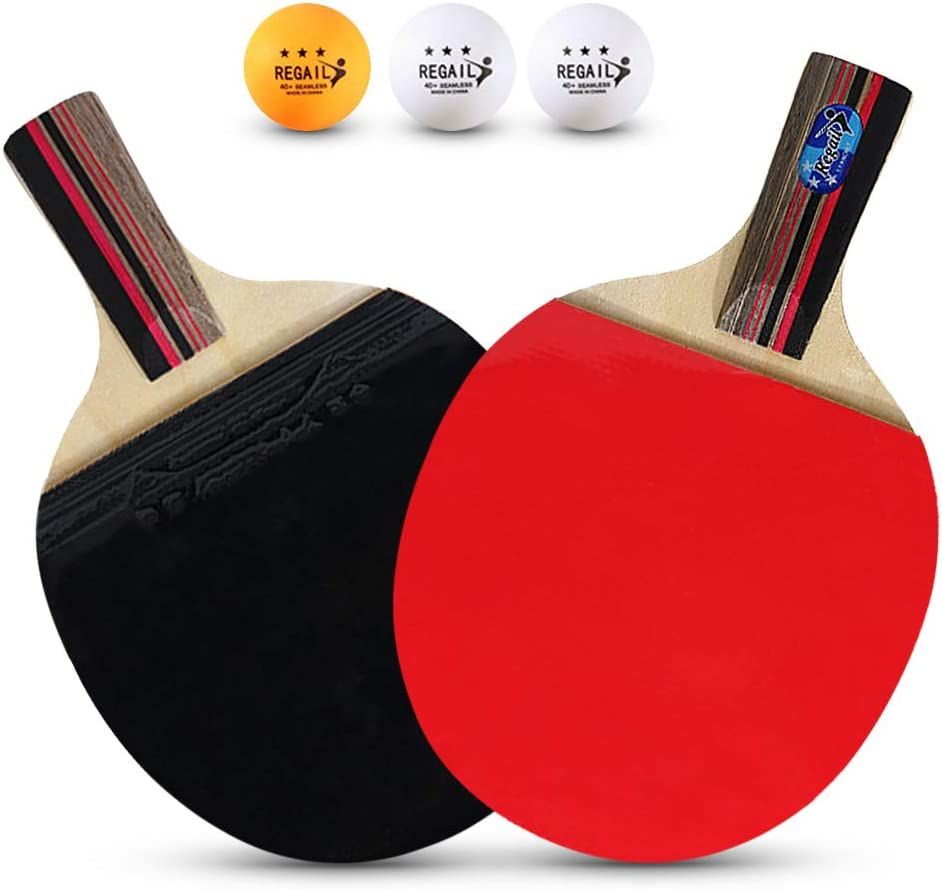 Lepeuxi Paletas de Ping Pong de Mesa de Calidad 2 Palos de Ping Pong Mango Largo y Corto Juego de Raquetas de Ping Pong Accesorios de Entrenamiento Kit de Paquete de Raquetas con Bolsa y 3