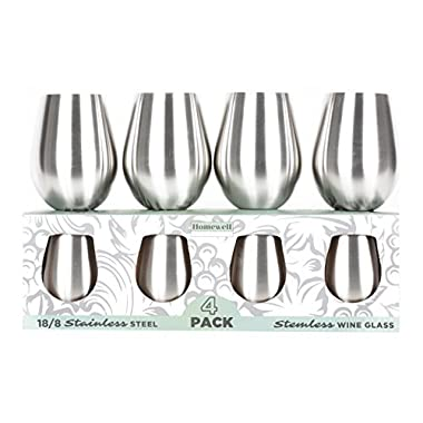 Homewell Stainless Steel Stemless Wine Glasses Set of 4, 18 oz. Brushed Metal Shatterproof Tumbler Cups