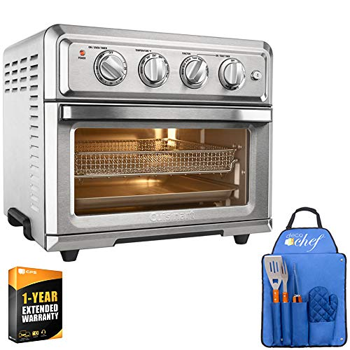 Cuisinart TOA-60 Convection Toaster Oven Air Fryer with Light, Silver + 3 Piece BBQ Tool Set with Custom Blue Apron, Spatula, Tongs, Fork and Oven Mitt + 1 Year Extended Warranty