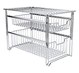 TQVAI Stackable 2 Tier Pull Out Under Sink Cabinet Organizer with Sliding Basket Drawer, Chrome Silver