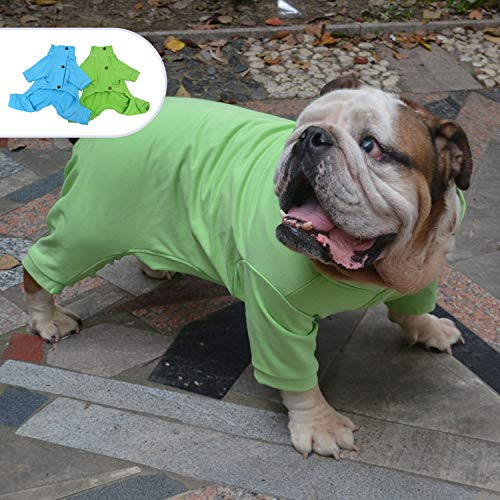 Lovelonglong Hunde-Pyjama aus Baumwolle, elastisch, warm, Rollkragenpullover, 4 Beine, vollständig bedeckt, Einteiler für Englische Bulldogge, amerikanische Pit Bull Hunde, jedes Wetter, Grün, B-XL