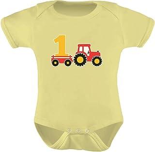 Tstars - One Year Old Boy Birthday Gift 1st Birthday Tractor Baby Bodysuit