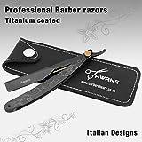 Asa de afeitar recto de titanio negro para hombres y cuchilla recta de afeitar