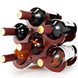 TXZWJZ Countertop Small Wood Wine Rack – 6 Bottle Tabletop Wine Bottle Holder,Storage Stand with Stylish...